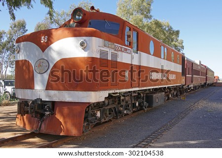 ALICE SPRINGS, AUSTRALIA - MAY 3, 2015: Old Ghan train on the Heritage Railway Museum on May 3, 2015 in Alice Springs, Australia - stock photo
