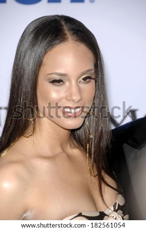 Alicia Keys at Pre-Grammy Party for Clive Davis, Beverly Hilton Hotel, Los Angeles, CA, February 09, 2008 - stock photo