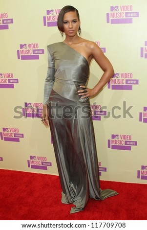 Alicia Keys at the 2012 Video Music Awards Arrivals, Staples Center, Los Angeles, CA 09-06-12 - stock photo