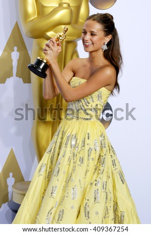 Alicia Vikander at the 88th Annual Academy Awards - Press Room held at the Loews Hotel in Hollywood, USA on February 28, 2016. - stock photo
