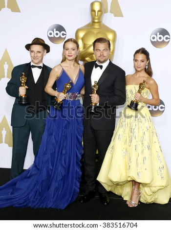 Alicia Vikander, Brie Larson, Leonardo DiCaprio and Mark Rylance at the 88th Annual Academy Awards - Press Room held at the Loews Hollywood Hotel in Hollywood, USA on February 28, 2016. - stock photo