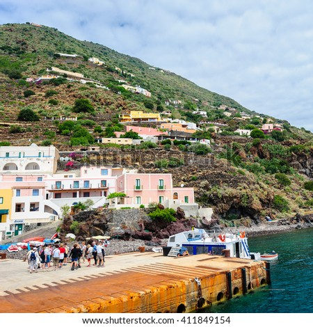 ALICUDI, AEOLIAN ISLANDS, ITALY - JUNE 1: tourists arrived to Alicudi by boat, Italy on June 1, 2011.