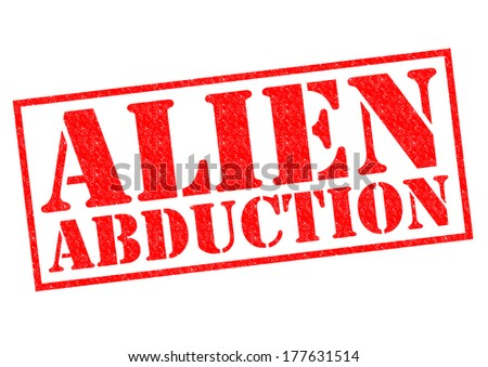 ALIEN ABDUCTION red Rubber Stamp over a white background. - stock photo