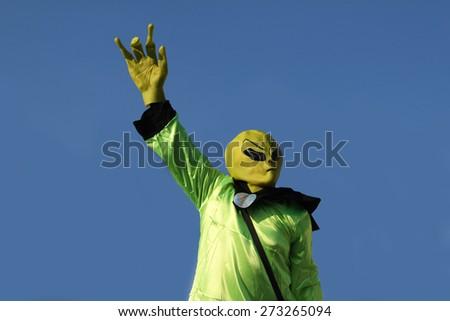 Alien / Aliens - green men arrived on our planet Earth. - stock photo