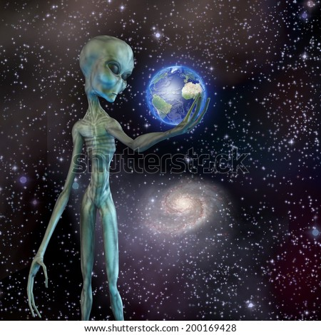 Alien being ponders earth Elements of this image furnished by NASA - stock photo