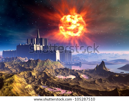 Alien Castle Fortress Under Exploding Sun - stock photo