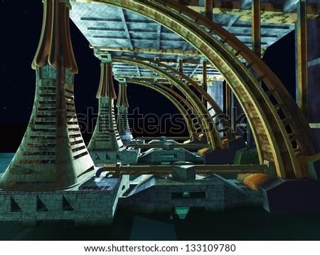 Alien City -  fantasy urban structures - stock photo
