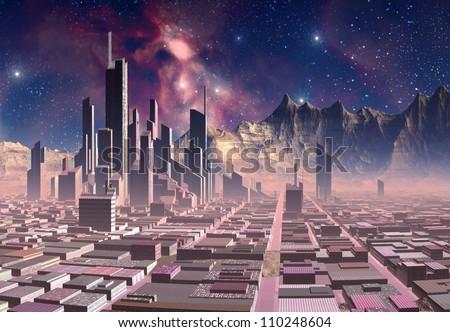 Alien City on an Alien Planet - stock photo