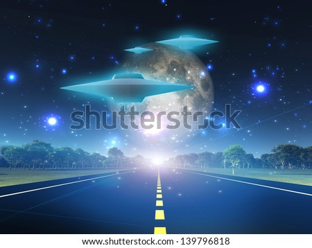 Alien craft on roadway in country - stock photo
