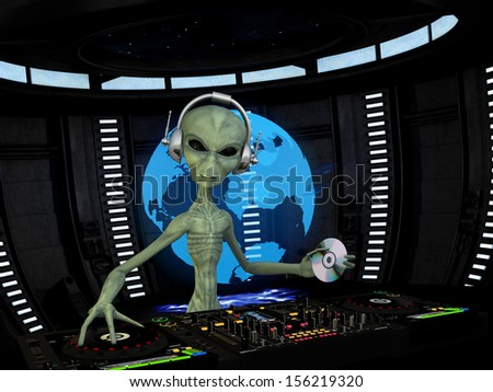 Alien DJ - An alien DJ wearing wireless headphones holding a CD. Turntables and mixers.  Holograph shows the alien approaching the Earth. - stock photo