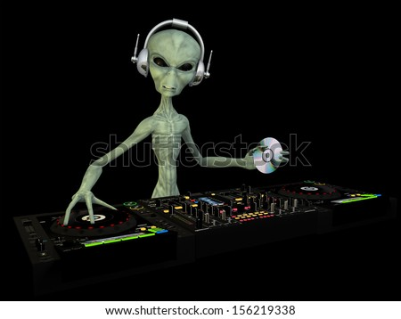 Alien DJ - An alien DJ wearing wireless headphones holding a CD. Turntables and mixers.  Isolated on black - stock photo