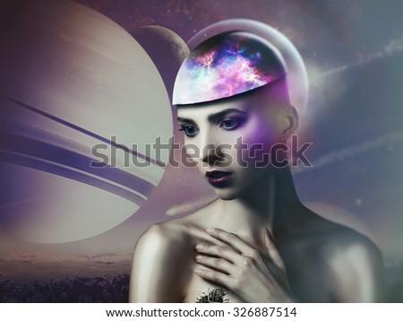 Alien dreams. Fairy female portrait. NASA imagery used - stock photo