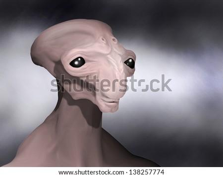 alien face - stock photo