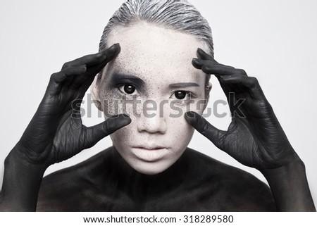 alien girl - stock photo