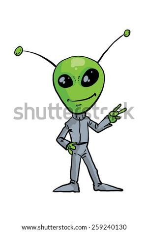 Alien - green man - in a gray suit.  - stock photo