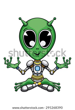 Alien in the lotus pose. Illustration a cartoon green alien. He sits in padmasana (lotus yoga pose), and meditates.  - stock photo