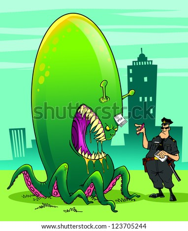 Alien invader and fearless policeman - stock photo