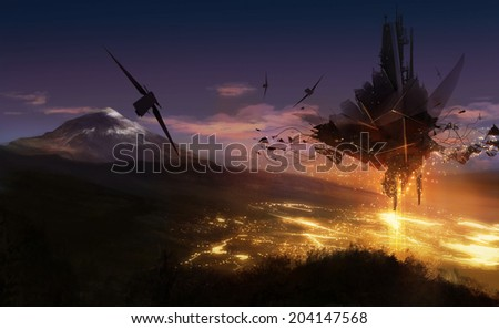 Alien invasion. Alien ship flying over the night city lights background illustration. - stock photo
