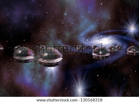 Alien Invasion by Flying Saucers - stock photo