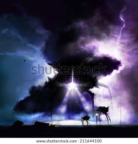 Alien invasion war. Mechanical black aliens invading earth and fighting army with tornado view. - stock photo