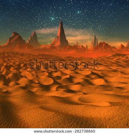Alien Landscape - 3D rendered fantasy artwork - stock photo