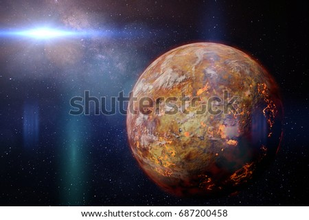 alien lava planet lit by a bright and hot star (3d illustration)