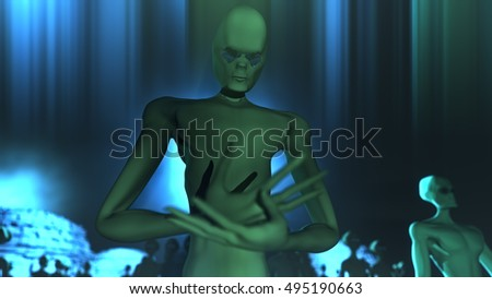 Alien Leader and Army 3D Illustration