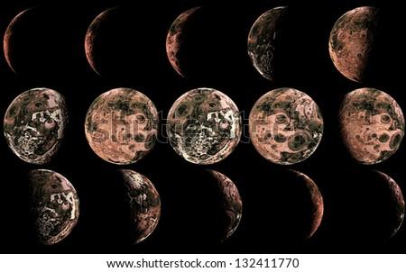 Alien moon phases wallpaper. - stock photo