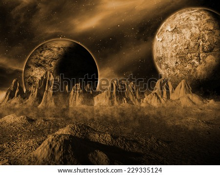 Alien moon rises over a distant planet. Orange Space Scene/Background - stock photo