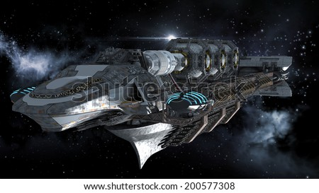 Alien mothership in deep space, for futuristic, fantasy or interstellar travel backgrounds, rendered on a galactic starfield. - stock photo