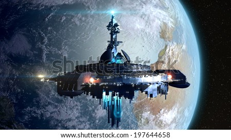 Alien mothership near Earth, for futuristic, fantasy or interstellar deep space travel backgrounds - stock photo