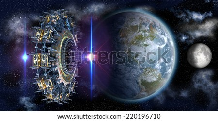 Alien mothership UFO nearing Earth, with the Moon rising and copy space for futuristic, space fantasy or interstellar travel cover images or backgrounds. Elements of this image furnished by NASA.  - stock photo