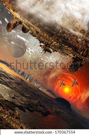 Alien Planet and Spaceships - stock photo