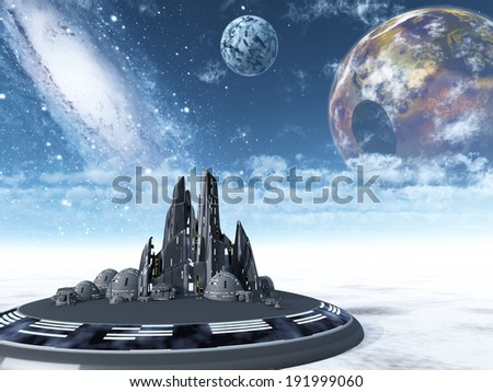 alien  planet and town - stock photo