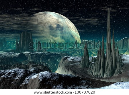 Alien Planet - Computer Artwork - stock photo