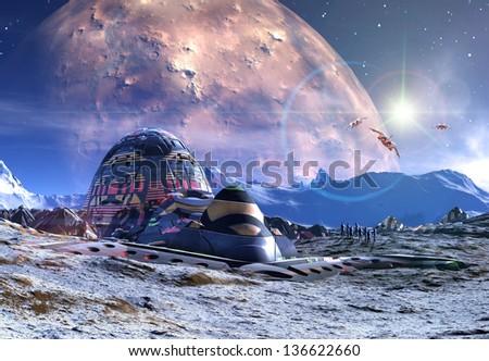Alien Planet - 3D Rendered Computer Artwork - stock photo