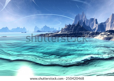 Alien Planet - 3D Rendered Computer Artwork. Rocks and  lake - stock photo