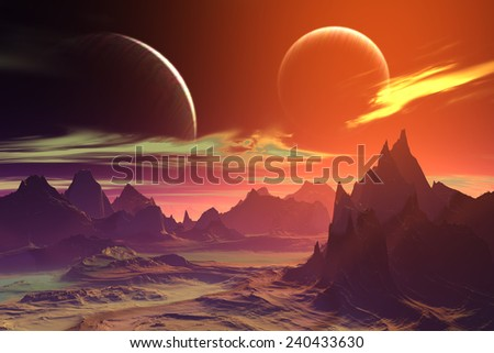 Alien Planet - 3D Rendered Computer Artwork. Rocks and  moon - stock photo