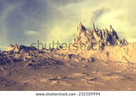 Alien Planet - 3D Rendered Computer Artwork. Rocks and sky - stock photo