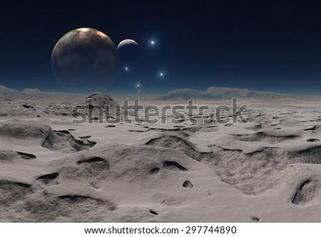Alien Planet - 3D Rendered Landscape - stock photo