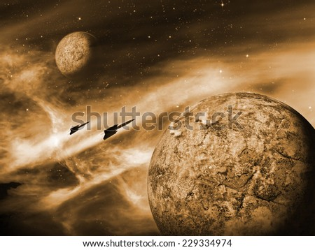 Alien planet in a distant space nebula. Orange Space Scene/Background - stock photo