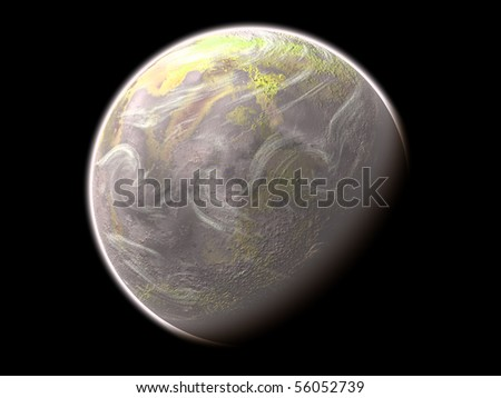 Alien planet isolated on the black background
