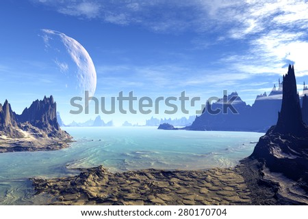 Alien Planet. Rocks and  moon. Rendered Computer Artwork