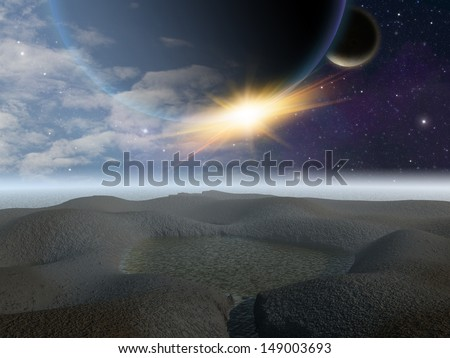 Alien planet. Sunrise around the curve of a Jupiter like gas planet. - Artist impression of fantasy landscape