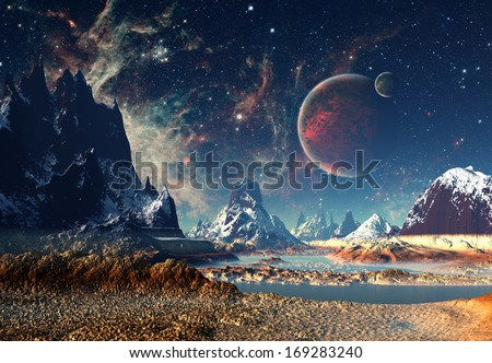 Alien Planet With A Moon And Mountains - stock photo