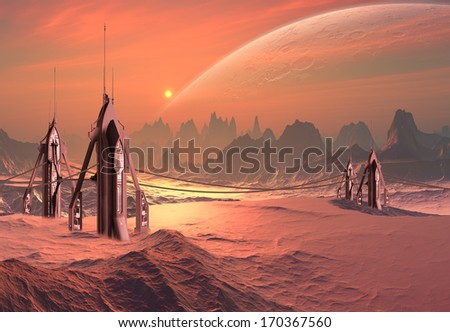 Alien Planet with Alien Building Constructions - stock photo