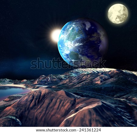 Alien Planet With Earth Moon And Mountains . 3D Rendered Computer Artwork. Elements of this image furnished by NASA  - stock photo