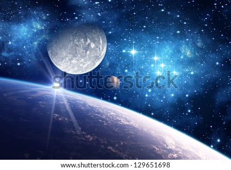 Alien Planet With Moons - Computer Artwork - stock photo