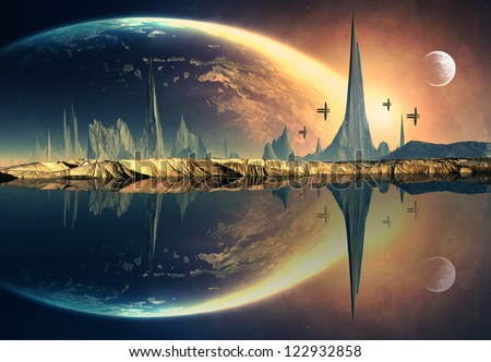 Alien Planet With Mountains And A Moon - stock photo