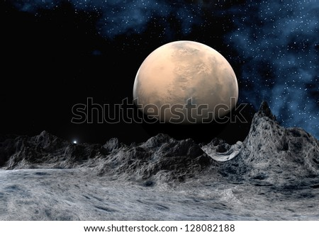 Alien Planet With Mountains And A Moon - Computer Artwork - stock photo